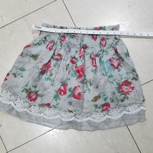 Grey Flower Skirt with Lace Trim